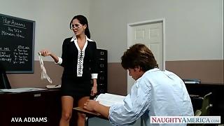 american, big tits, blowjob, brunette, classroom, fuck, glasses, hardcore, naughty, pornstar, teacher, titjob