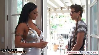 american, big tits, blowjob, brunette, couch, cougar, fuck, hardcore, milf, naughty, pornstar