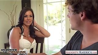 american, big tits, blowjob, brunette, cougar, facial, fuck, hardcore, heels, milf, naughty