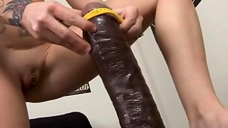 bbw, brunette, brutal, dildo, insertion, masturbation, petite, pussy, sex, solo, thick, toys