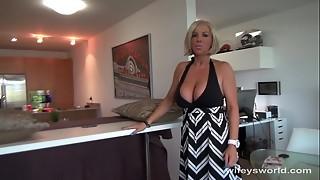 big tits, blonde, blowjob, cum, cumshot, handjob, mature, milf, milk, swallow, table, wife