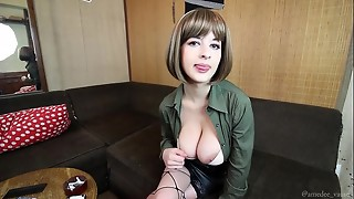 babe, big tits, blonde, femdom, joi, masturbation, mom, natural, nipples, striptease, stroking