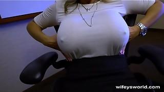 blowjob, caught, cum, cum in mouth, cumshot, hidden cams, masturbation, milf, mouth, swallow, wife