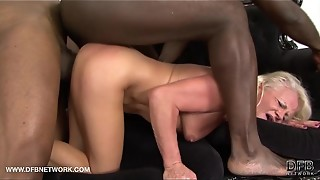black, blonde, blowjob, chubby, cock, cum, cum in mouth, cumshot, double penetration, facial, fuck, granny, hardcore, husband, interracial, mouth, swallow, threesome