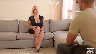 babe, big tits, blonde, casting, curvy, european, fingering, glamour, hardcore, lingerie, masturbation, pink, pussy, shaved, solo, work