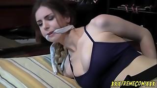 bdsm, bondage, brunette, creampie, deepthroat, prison, rough sex