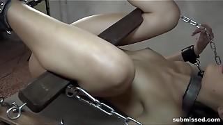 babe, bdsm, bondage, brunette, femdom, fuck, hottie, machine, slave, tied