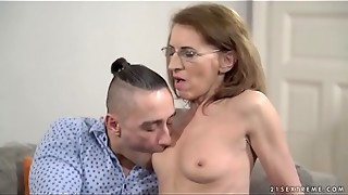 blowjob, brunette, doctor, european, granny, mature, mom, saggy tits, tied, tiny