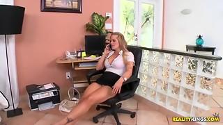 big tits, blonde, boss, hardcore, heels, milf, office