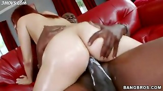 babe, bbc, big ass, big dick, black, blowjob, booty, bubble, cowgirl, creampie, interracial, oil, pink, pussy, redhead, riding