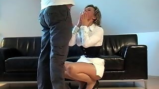 dress, fetish, foot fetish, german, handjob, heels