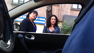 car, double penetration, flashing, nude, public, voyeur
