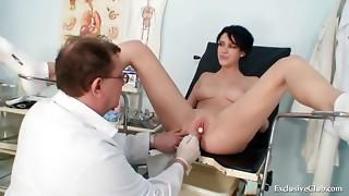 big tits, bizarre, brunette, czech, doctor, goddess, toys, uniform