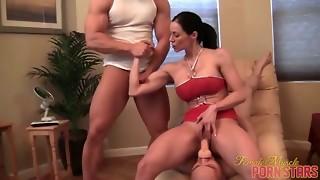handjob, hardcore, milf, muscle, pornstar, threesome, toys