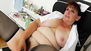 blowjob, closeup, fetish, granny, mature, nurse, toys, uniform