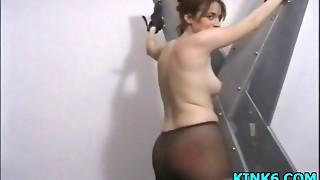 bdsm, brunette, fetish, gagging, nylon, pussy, slave, spanking