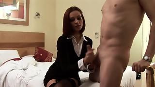 blowjob, british, cfnm, femdom, handjob, hd videos, pervert, redhead, sauna, spanking