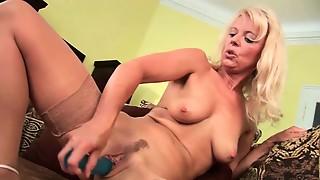 blonde, chair, cum, granny, masturbation, mature, solo, stockings, toys