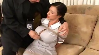 bdsm, bedroom, big tits, bondage, gagging, groped, maid, sex, sexy, tied