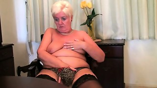 blonde, british, granny, masturbation, panties, solo, stockings, toys