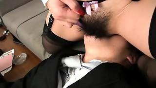 asian, hairy, handjob, hottie, japanese, lady, licking, office, pervert, stockings