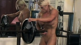 babe, big tits, blonde, erotic, gym, hd videos, muscle, nude, softcore, solo