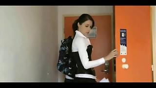 brunette, handjob, hardcore, student, uniform