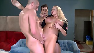 big ass, blonde, dirty, fuck, police, pussy, squirting, threesome, uniform, wild