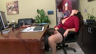 69, big ass, big tits, blowjob, boss, brunette, facesitting, facial, fuck, horny, office