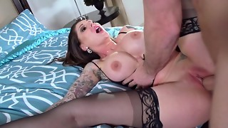 bald, blowjob, brunette, crazy, cunt, hardcore, long hair, milf, pornstar, pussy, shaved, stockings, tattoo