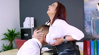 bbw, black, blowjob, boss, fuck, leather, massive, milf, naughty, office, pussy, redhead, sex, sexy, skirt