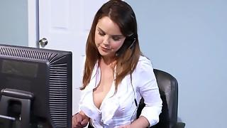 blowjob, boss, brunette, cute, fuck, hardcore, model, office, oral