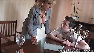 blonde, british, lady, lingerie, mature, milf, stepson, table, teasing